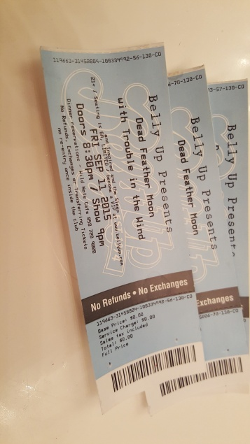 Ticket win to see Dead Feather Moon, Sept 2015
