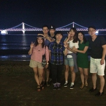 With New friends at Busan, S.Korea