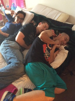 Angel, Adam and Vic resting before the party starts